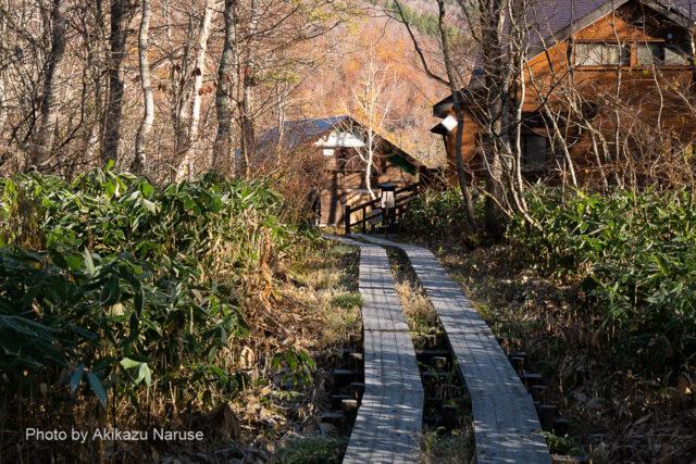 尾瀬ヶ原:午前7時30分、山ノ鼻ヘ到着。つるつるの木道下りが終わりほっとする。