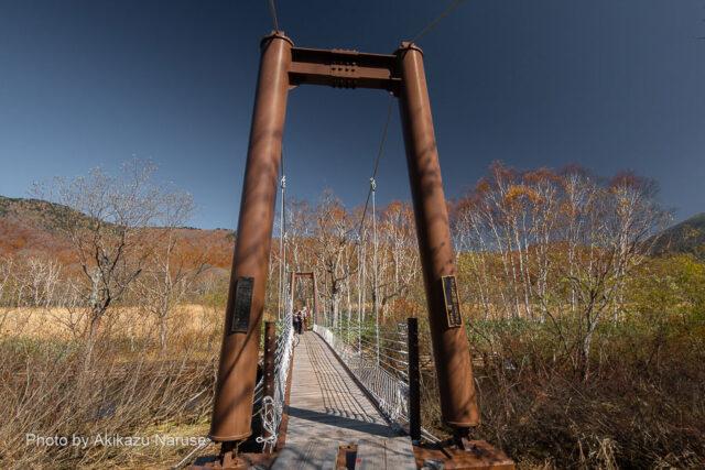 尾瀬ヶ原:東電小屋分岐から約30分でヨッピ吊橋へ到着。ヨッピ川のせせらぎ音が聞こえるのみ、静かな橋のたもとで昼食と小休止。