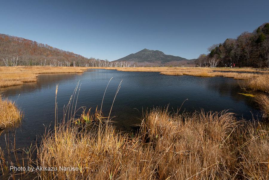 尾瀬ヶ原:かなり大きな池塘、さざ波で水面の燧ヶ岳がぼんやりとしか見えない。