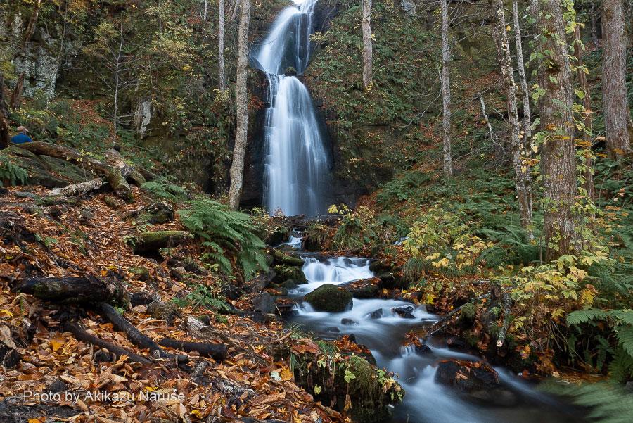 奥入瀬渓流:雲井の滝、この滝から上流の銚子大滝までの間を「瀑布街道」と呼び両岸の支流から流れ落ちる数々の滝が目を楽しませてくれる。雲井の滝は滝壺の近くまで行けるので記念写真の絶好のスポットとなっている。バス停「雲井の滝」停車場前でアクセスも良い。