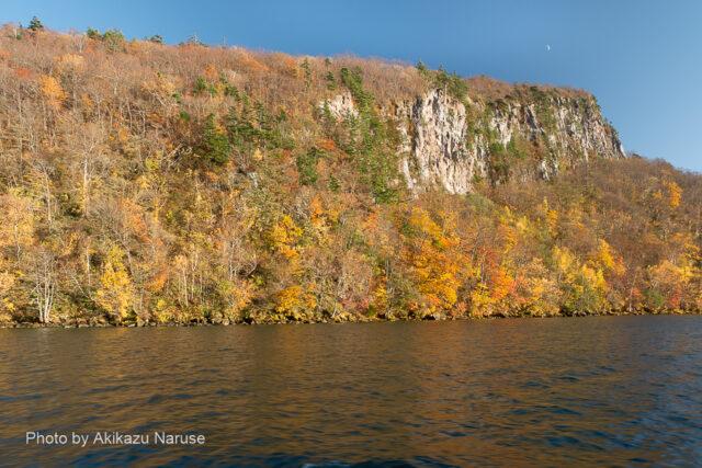 十和田湖:遊覧船はやがて御倉半島の先端を通り左へ舵を切り中湖へ。 大噴火でできた外輪山の荒々しい岸壁と紅葉が織りなす絶景に息をのむ。