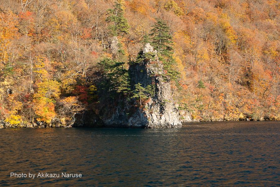 十和田湖:御倉半島西側は午後の日差しが順光になるので紅葉が映える。烏帽子岩だろうか?