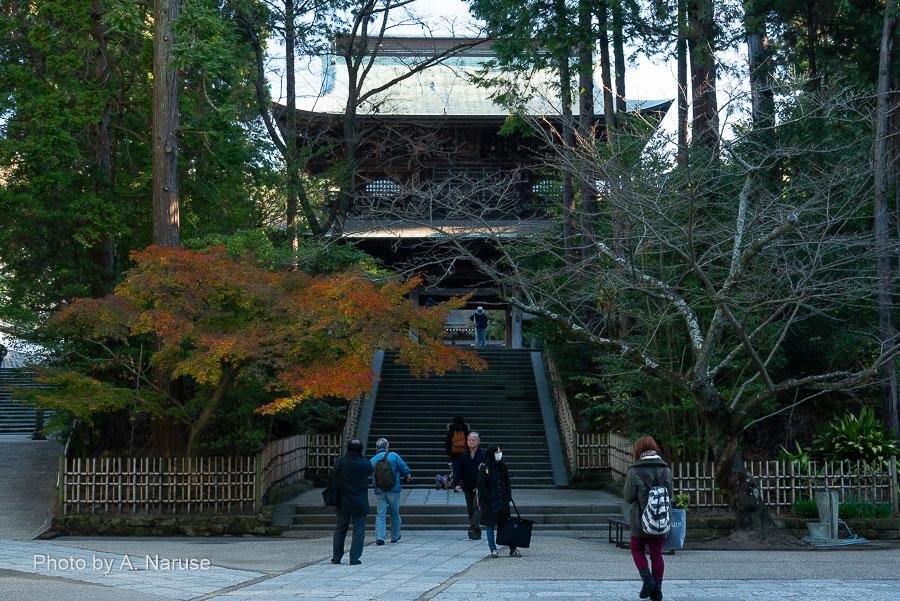 円覚寺:三門(山門)、形式は楼門で扁額には「円覚興聖禅寺」と書かれている、伏見上皇(1265〜1317)より賜ったものとか、未だ日陰で写真には写っていない。