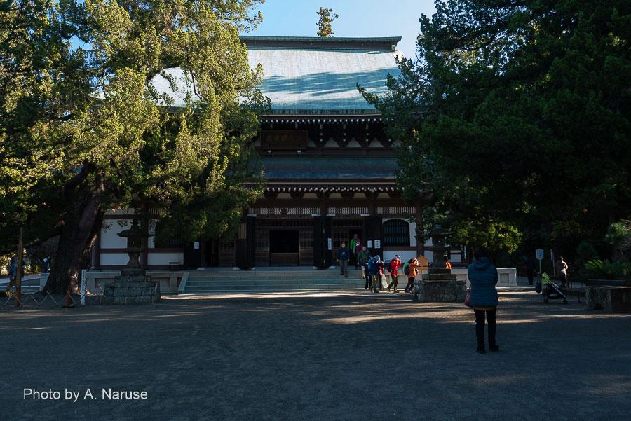 円覚寺:「仏殿」、円覚寺の本尊は冠を被った「宝冠釈迦如来」。午前9時谷戸(やと、やつ)に建つ円覚寺境内に射す日差しはまだ僅かだ。1964年再建の比較的新しい伽藍。